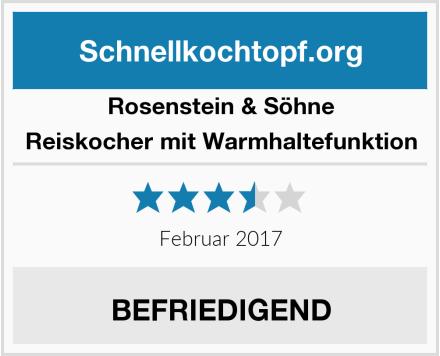 Rosenstein & Söhne Reiskocher mit Warmhaltefunktion Test
